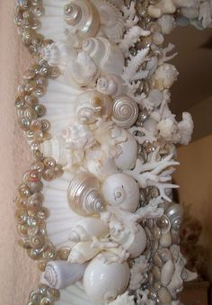 White Pearl Seashell Encrusted Cape Cod Style Square Mirror