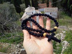 Classic Greek or Russian style Orthodox BIG 50 or 100 knot wool prayer rope wooden beads komboskini