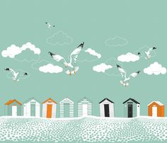 Fabric by Candyjoyce - A typical British Beach scene using 4 colours. Pebbly beach, beach huts to escape the weather and seagulls trying to pinch your chips