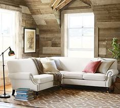 """Section. Performance Tweed, Latte 97.25""""w x 93"""" l x 37"""" d x 34.5"""" h   Brooklyn Upholstered 2-Piece L-Shaped Sectional #potterybarn"""
