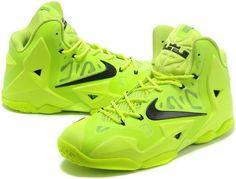 For Sale Lebron 11 Shoes Electric Green Black Volt 616175 302 b9ca75fece