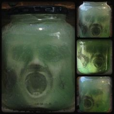 Supremely disturbing: Head in a jar. Add food coloring to hair gel, shake to distribute. Place a creepy head in a jar, squeeze the hair gel onto the head to fill the jar completely...