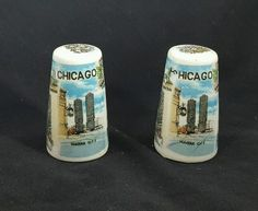 VINTAGE STATE STREET CHICAGO CERAMIC SALT AND PEPPER SHAKERS