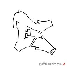 E Graffiti Letter in Simple Style done with pencil on paper and 0.5 Multi Liner Copic marker from Graffiti EMpire.