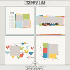 Templates are a great way to create a layout quickly and easily (and are especially great when you're suffering from a creative block!). Simply clip your own papers and photos to the layers, add some embellishments and journaling, and you're finished. Easy peasy. This particular set is great if you love the look of stitched paper, as it includes actual dimensional stitching.