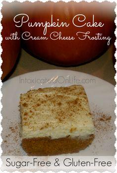 Gluten-free sugar-free pumpkin cake with cream cheese icing