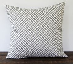"""Gray and Ivory pillow cover One 18"""" x 18"""" cushion cover modern minimalist decor - Could I do this with Mosaic knitting?"""