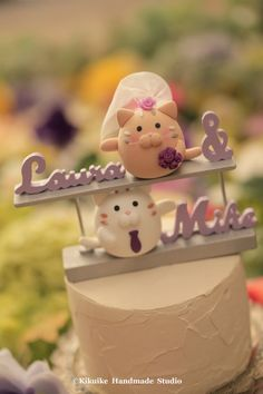 cat and kitty Wedding Cake Topper by kikuike on Etsy