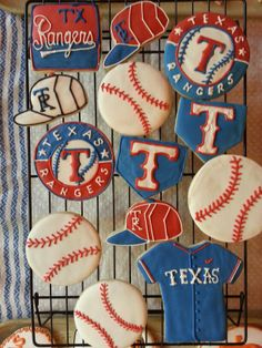 Texas Rangers Baseball Cookies by Cupookies