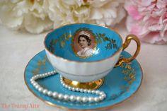 Aynsley Elegant Turquoise Queen Elizabeth II Commemorative Portrait Teacup Set, English Bone China Tea Cup Set, Wedding Gift, ca. 1950