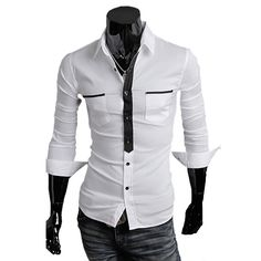 New Style High Quality Fashionable and Special False Tie Design Cotton Casual Shirt For Men