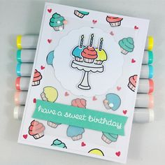 Bright and fun birthday card using Lawn Fawn Baked With Love stamp set. Instagram photo by @mfhandcrafted