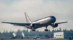 The first KC-46 tanker for the US Air Force takes off from Paine Field in Everett,...