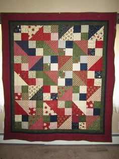 Quick and easy Christmas quilt from layer cake