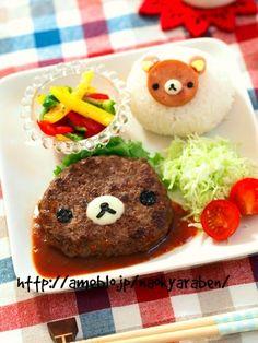 Rilakkuma hamburger plate, featuring a Spam Rilakkuma onigiri rice ball on the side Japanese Food Art, Japanese Dishes, Bento Recipes, Baby Food Recipes, Cute Food, Good Food, Kawaii Cooking, Kawaii Bento, Cute Desserts