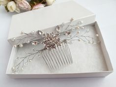 Rhinestone hair comb pearl hair comb wedding hair by BeuBeuDesign Hair Comb Wedding, Wedding Hairstyles, Hair Accessories, Gift Wrapping, Hair Combs, Pearl Hair, Trending Outfits, Unique Jewelry, Handmade Gifts