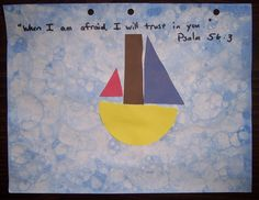 Week 27, Day 3: Jesus Calms the Storm craft and music ideas... Perfect for children to also learn their shapes and colors!!