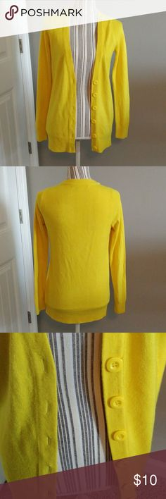 Forever 21 Cardigan Awesome bright yellow cardigan from Forever 21...worn a few times, in very good condition...light piling due to wear and wash (pic6), still wears really well...button-up...v-neck...color is a bright, bold yellow...super soft and warm, slightly fuzzy material...size S. (FIRM, UNLESS BUNDLED) Forever 21 Sweaters Cardigans