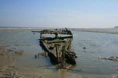 Wreck of SS Devonia on Dunkirk Beaches 2009. #ww2