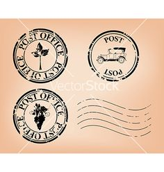Set - grungy post stamps vector by pavalena on VectorStock®