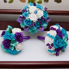 turquoise/purple wedding flowers | Purple & Turquoise bouquet set