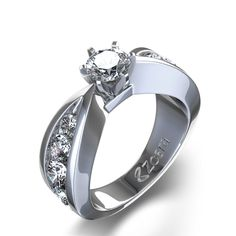 Bow Tie Diamond Ring in 14k White Gold