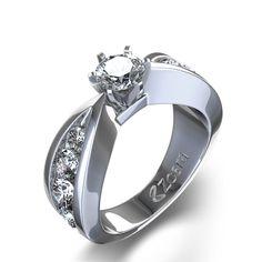 Bow Tie Diamond Ring in 14k White Gold