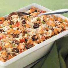 Greek pasta bake....I've made this many times... Super good.  The more veggies the better!!