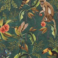 Wallpaper Michelle Quantum – Wallpaper World Monkey Wallpaper, Animal Wallpaper, Toilet Room Decor, Tropical Animals, Home Wallpaper, My New Room, Designer Wallpaper, Pattern Wallpaper, Flower Art