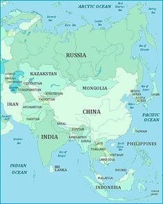 Map Of ASIA Continent. Fact: About 60% Of The World´s Population Are Living  In Asia, (for Comparison   In North America Continent Only About 7,5%.