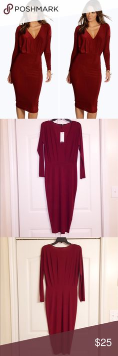 Boohoo Red dress! Red blouse Dress NWT! Cleaning out my closet as I'm moving and ready to sell! Boohoo Dresses Midi
