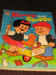 Child's 1950s Coloring Book Nancy and Sluggo. I still remember coloring in this i was born in 1976