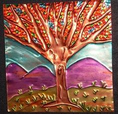 "Excellent ""metal tree art projects"" information is available on our web pages. Take a look and you wont be sorry you did. Group Art Projects, Fall Art Projects, Auction Projects, Tin Foil Art, Tin Art, Metal Tree Wall Art, Metal Art, 7th Grade Art, Sculpture Lessons"