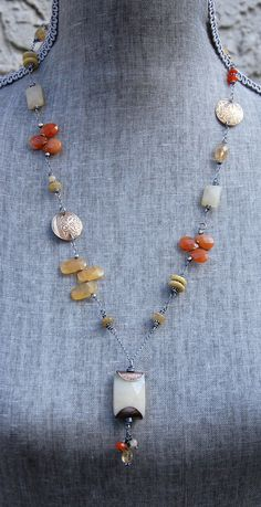 Cynthia Murray Design Necklace with honey jade, citrine, carnelian, etched brass discs and sterling wire & chain