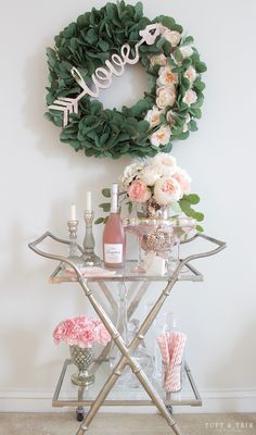 Just in case you didn't get enough pink during my tablescape tour, I've got more on my bar cart for you! A home office is not complete without a bar cart, right? Nothing like having an afternoon glass of champagne to boost your creativity. Ok, not really, but it's not a bad idea? Come take a look at how I styled my pretty in pink bar cart for my home office.