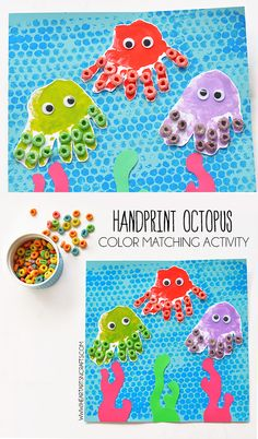 """Handprint Octopus and Color Matching Activity"" This is just too adorable! I have to admit, that ""Type A Teacher"" in me is a teeny bit bothered by the fact that the octopuses don't have 8 arms. But this craft is so, so cute! It might be fun to have the kids print their hands and have them add three more ""finger prints"" to the octopus. It could be a quick math lesson. Love the use of the colored cereal here! Just adorable!!;)"