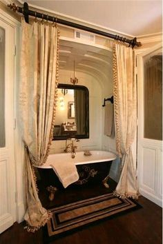 This gallery features beautiful bathrooms with clawfoot tubs. Below you'll find ., This gallery features beautiful bathrooms with clawfoot tubs. Below you'll find pictures of a variety of clawfoot bathtub styles so you can find the o. Victorian Interiors, Victorian Decor, Victorian Homes, Victorian Design, Victorian Curtains, Victorian Furniture, Antique Furniture, Antique Lamps, Black Furniture