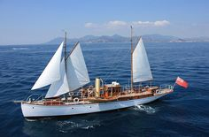 """1903 85-footer. Built in the era when motor yachts still had a few sails """"just in case!"""" By Camper & Nicholson. [Details]"""