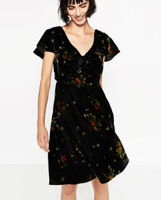 Image 1 of PRINTED VELVET DRESS from Zara