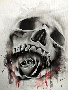 something about skulls and roses.skulls and roses Insane Tattoos, Love Tattoos, New Tattoos, Hand Tattoos, Awesome Tattoos, Rose Tattoo On Hand, Tatoos, Evil Tattoos, Skull Tattoo Design