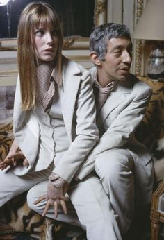 Serge Gainsbourg and Jane Birkin wearing Cerruti creations, at their apartment on Verneuil Street in Paris, 1969, photo by Nicolas Tikhomiroff© Nicolas Tikhomiroff:Magnum Photos