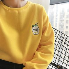 2017 New Autumn Harajuku Hoodies Banana Embroidery Long Sleeve Loose Kawaii Women Sweatshirt Girl Vintage Elegant Casual Tops Korean Aesthetic, Aesthetic Colors, Aesthetic Clothes, Aesthetic Yellow, Outfits Kawaii, Trendy Outfits, Cute Outfits, Pastel Yellow, Mellow Yellow