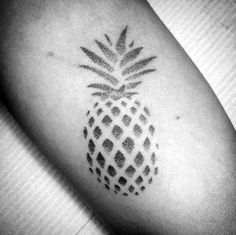 Small Arm Negative Space Pineapple Tattoos Guys