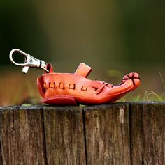 Leather keychain.Best friend gift.  Shoe. by secondstudio on Etsy