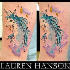 Had the huge pleasure tattoo in this on Laura today 😊 I've wanted to do a last unicorn tattoo for ages!!! Thank you xx #tattoo #lastunicorn #unicorn #unicorntattoo #lastunicorntattoo #fun #art #arty #film #cult #colourful #watercolour #watercolourtattoo #ladytattoers #custom #design #drawing #childhood #ink #cosmicmonstersincorporated #girl #girlytattoo #illustration