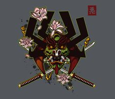 The design was inspired by historical samurai masks called kabuto, and the iconic villain from a popular cartoon show. @teefury
