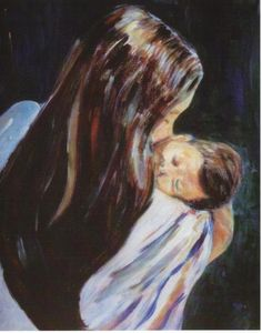 Title:Mother and Child Artist:Gladiola Sotomayor Medium:Painting - Acrylic On Canvas
