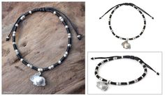 Silver accent charm bracelet, 'Hill Tribe Rabbit' at The Animal Rescue Site