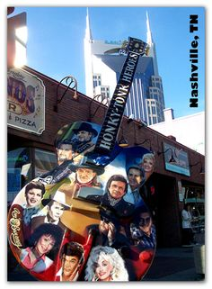Music City's Guitar Magnet with a few of Nashville's Country Music Legends, Johnny Cash, Dolly Parton, Willie Nelson, Patsy Cline and a few additional heroes. In the background sits the almost as famo