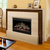 Gibraltar Travertine Modern Electric Fireplace with Logs - GDS33-1240TR